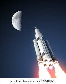 Space Launch System And Moon. 3D Illustration. Elements of this image furnished by NASA.