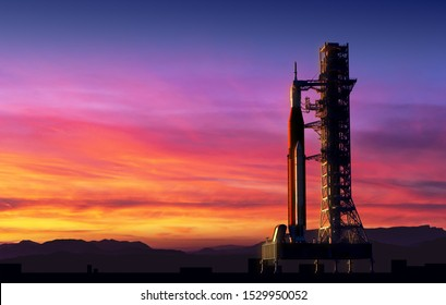 Space Launch System On Launchpad Over Background Of Pink Clouds. 3D Illustration.
