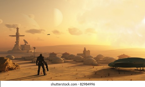 Space marine discovering an alien village on a sandy desert planet, 3d digitally rendered illustration