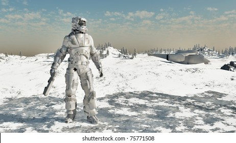 Space Marine and dropship on a frozen ice planet, 3d digitally rendered illustration