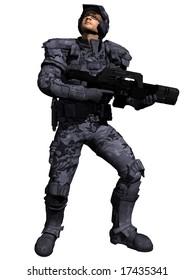 A Space Marine Ranger checks the sky for enemies, 3d digitally rendered illustration