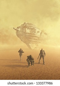 Space marine trackers following a trail on a desert planet, 3d digitally rendered illustration