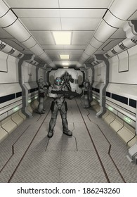 Space Marine Troopers on High Alert. Space marine troopers and battle robot guarding a science fiction corridor, 3d digitally rendered illustration