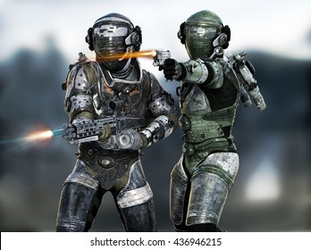 Space Marines fire team engaging the enemy on a mission. 3d rendering