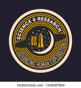 Space mission vintage isolated label. Scientific odyssey symbol, modern spacecraft flying, planet colonization illustration.
