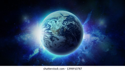 Space nebula and planet Earth Illustration, for use with projects on science, research, and education. Elements of this image furnished by NASA.