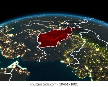 Space orbit view of Afghanistan highlighted in red on planet Earth at night with visible country borders and city lights. 3D illustration. Elements of this image furnished by NASA.