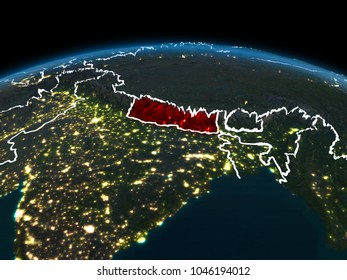 Space orbit view of Nepal highlighted in red on planet Earth at night with visible country borders and city lights. 3D illustration. Elements of this image furnished by NASA.
