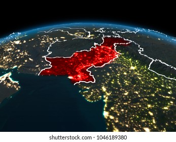 Space orbit view of Pakistan highlighted in red on planet Earth at night with visible country borders and city lights. 3D illustration. Elements of this image furnished by NASA.