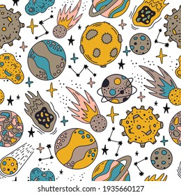 Space planets pattern. Cute hand drawn planets and stars seamless pattern. Cosmic elements  background illustration