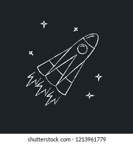 Space rocket icon on chalkboard. Spaceship symbol - chalk drawing.