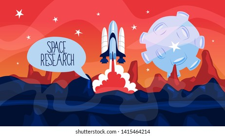 Space rocket launch with planets on the background. Idea of space research and exploration. Construction takes off after countdown. Flat  illustration