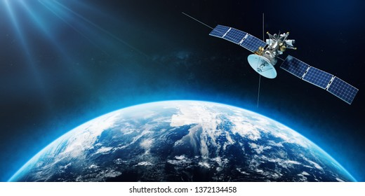 Space satellite orbiting the Earth. 3d rendering
