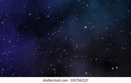 Space scape illustration astronomy graphic design background with gas clouds and glowins stars in deep universe.