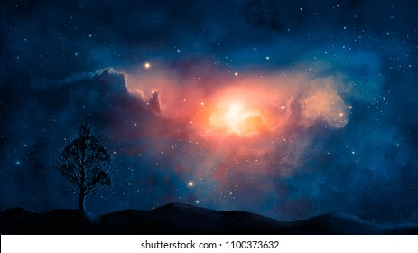 Space scene. Blue and orange nebula with planet land silhouette. Elements furnished by NASA. 3D rendering