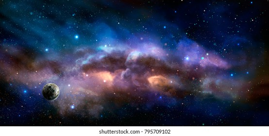 Space scene. Colorful nebula with planet. Elements furnished by NASA. 3D rendering