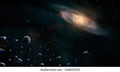 Space scene. Earth planet with galaxy, asteroids and spaceship. Elements furnished by NASA. 3D rendering