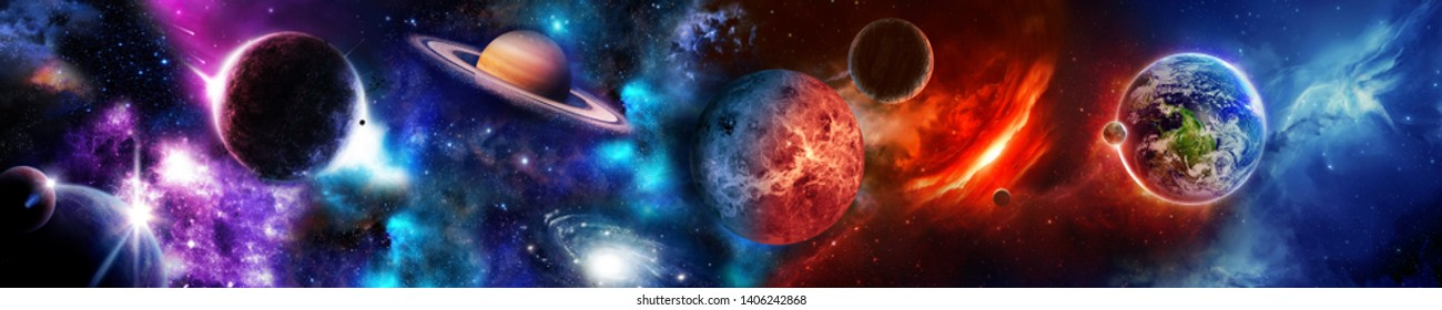 Space scene with planets, stars and galaxies. Panorama. Horizontal view for a glass panels (skinali).