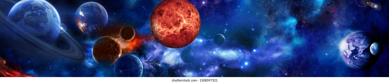 Space scene with planets, stars and galaxies. 3D illustration. Height resolution image.  Panorama. Horizontal view for a glass panels (skinali).