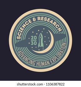 Space science and research vintage isolated label. Scientific odyssey symbol, modern spacecraft flying, planet colonization illustration.
