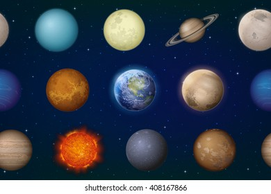 Space Seamless Background with Solar System Planets Sun, Earth, Moon, Mercury, Venus, Mars, Jupiter, Saturn, Uranus, Neptune, Pluto and Charon. Elements Furnished by NASA, http://solarsystem.nasa.gov
