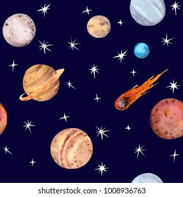 Space seamless pattern - planets, comet, stars. Watercolor astronomy science repeating background