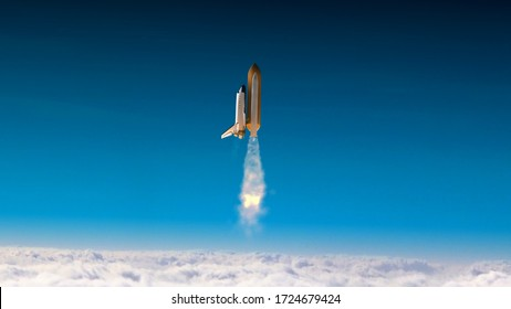 Space shuttle atlantis 3D render animation flying over clouds.