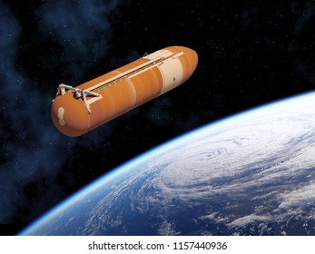Space Shuttle External Tank In Space. 3D Illustration.