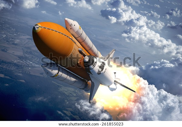 Space Shuttle Flying Over The Clouds 3D Wall Mural