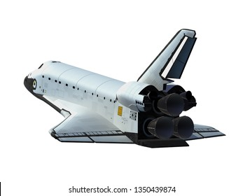 Space Shuttle Isolated On White Background. 3D Illustration