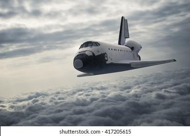 Space Shuttle Landing. 3D Illustration.