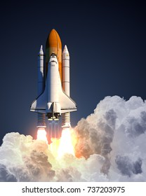 Space Shuttle Launch. 3D Illustration.