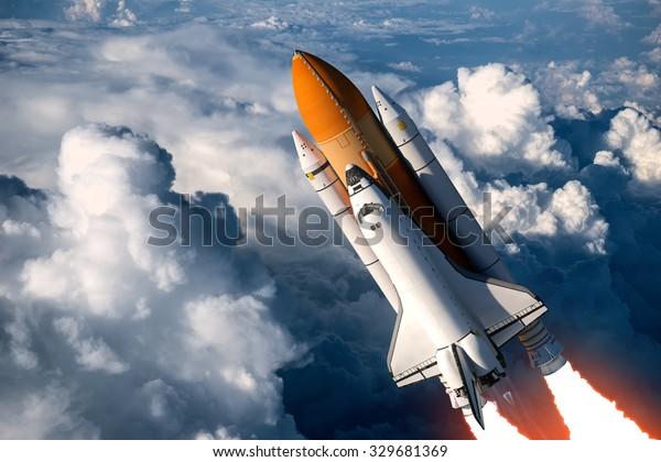 Space Shuttle Launch In The Clouds. 3D Scene.