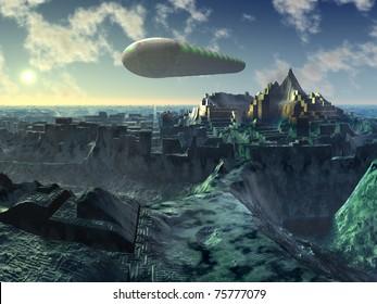 Space Shuttle over Alien City Ruins
