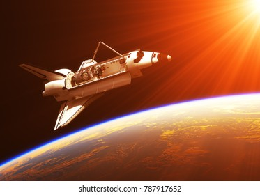 Space Shuttle In The Rays Of Rising Sun. 3D Illustration.