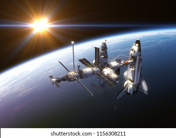 Space Shuttle And Space Station In The Rays Of Sun. 3D Illustration.