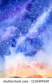 Space Starry sky. galaxy. picture on paper. watercolor background