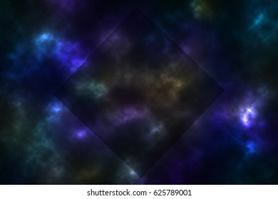 Space with the stars with square black frame, illustration