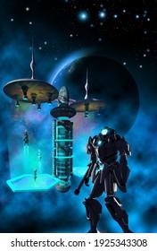 space station and alien robot, 3d illustration