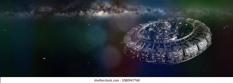 space station and the beautiful Milky Way galaxy, huge colony in empty space (3d science fiction illustration banner, elements of this image are furnished by NASA)