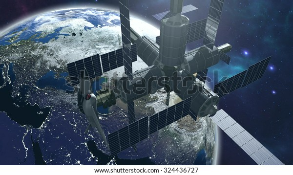Space station with earth. 3D rendering