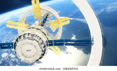 Space station flies around the Earth. 3D rendering