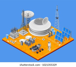 Space station isometric concept with solar energy symbols  illustration