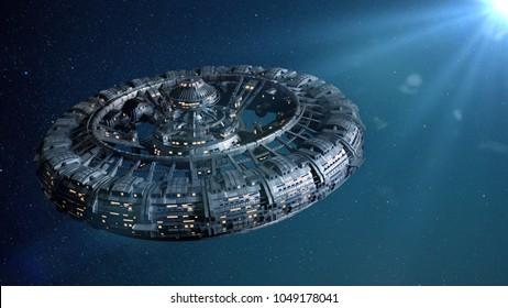 Raumstation mit hellem Stern (3D-Science-Fiction-Illustration)