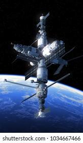Space Station Orbiting Blue Planet. 3D Illustration.