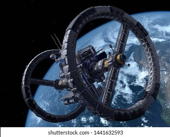 "Space station in outer space ""Elemen ts of this image furnished by NASA"", 3d render"