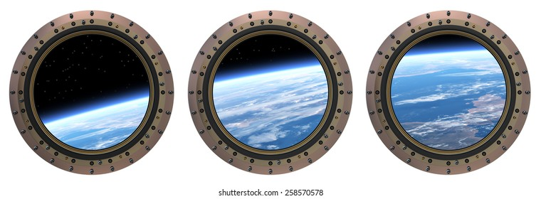 Space Station Portholes. 3D Scene. Elements of this image furnished by NASA.