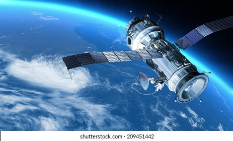Space Station travels in orbit around Earth. Astronaut works in open space. 3d illustration.  Elements of this image are furnished by NASA