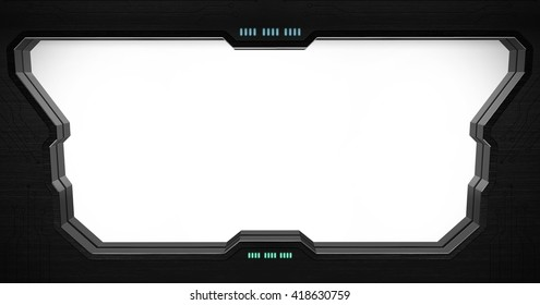 Space station window with white background '3D rendering'