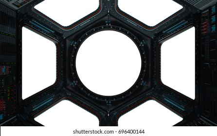 Space station window with white background 3D rendering